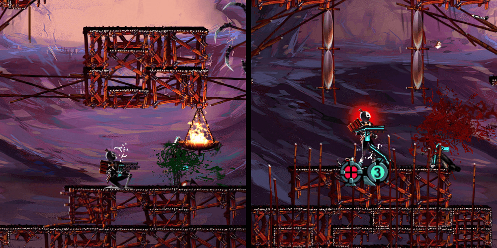 Left: The character in the battle with no modifications Right: The character with extra light, back-color and ui